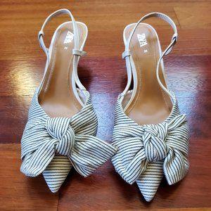 NWOT Zara Striped Bow Sling Back Kitten Heels Size 36